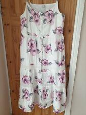 Heine Womens White Floral Maxi Dress Pink Rose Print Uk 16 #Box 41
