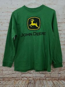 John Deere Boy's Long Sleeve Green Logo Cotton Shirt Size Large 14