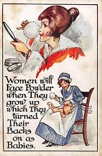 POSTCARD  COMIC    Women  will  face powder when  they  grow  up ....