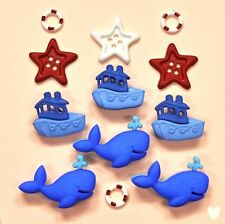 Dress It up Buttons Ahoy Baby 9321 - Whale Boat Ship Boy Embellishments