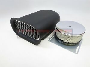 Mini-Hillborn Hood Scoop Smooth Single Air Cleaner Black Aluminum 4Barrel Blower