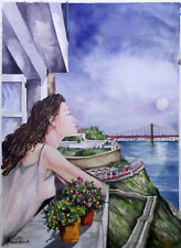 Watercolor Lisbon Portugal Painting by Armenio Paulo 2008