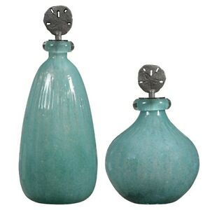 Uttermost Mellita Aqua Glass Bottles, Set of 2, Aged Gunmetal - 17841