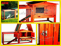 Deluxe Wooden Chicken Coop Backyard House Rabbit Yard Wood Hutch Nest Box Hen