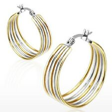 Pair of Silver & Gold Duo Tone Five Rings Hoop Earrings 28mm Diameter