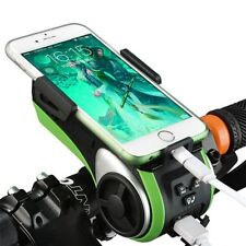 Waterproof Bicycle Bluetooth Speaker Phone Holder Bell LED Light USB Charger