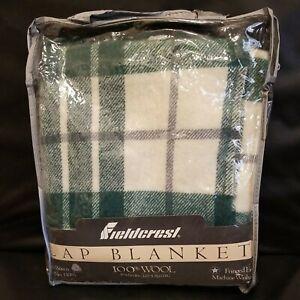 New Fieldcrest Lap Blanket Throw 100% Wool 50 X 60 Loom Woven Fringed Edge Green