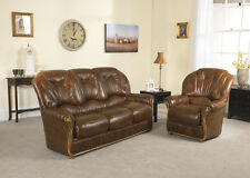 Brown High Grade Italian Leather 3 Seater + 2 Armchairs Sofa Suite ROMA