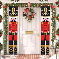 Christmas Nutcracker Banner Door Curtain Flag Hanging Xmas Party Decor Ornaments