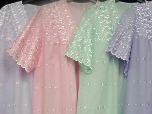 100% COTTON ALL-OVER EMBROIDERED NIGHTDRESS  + PLUS SIZES 28-30 30-32 & 32-34