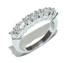 Sterling Silver & Gem Set ½ Eternity Ring - UK Size R