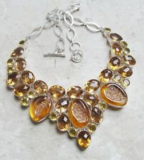 135 GRAMS!! RARE!! TITANIUM DRUZY & FACETED WHISKEY TOPAZ 925 NECKLACE 18""