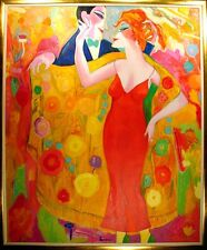 "Earl Linderman ""Love Behind the Yellow Shawl"" Original Oil Painting, MAKE OFFER!"