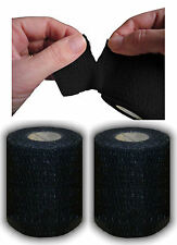 Tearable Black Line-Out Sports Rugby Elastic Adhesive Tape 7.5cm x 6.9m 2 Rolls