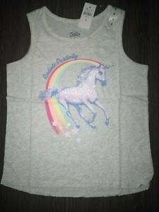 Girls justice glitter graphics tank size 8 new grey