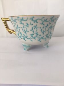 Aphorism Very Pretty 3 Footed China Tea/Coffee Cup White Blue And Gold Brand New