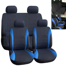 Car Seat Covers Blue Full Set for Auto w/Steering Wheel/Belt Pad/5Head Rest