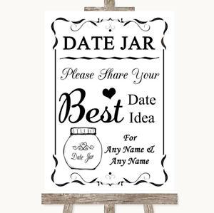 Wedding Sign Poster Print Black & White Date Jar Guestbook