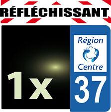 DEPARTEMENT 37 rétro-réfléchissant Plaque Auto 1 sticker autocollant reflectif