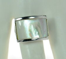 Solid 925 Sterling Silver Mother Of Pearl Ring Size- 8 '