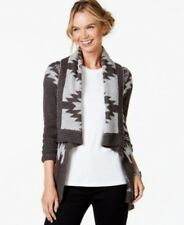 John Paul Richared Draped Open Front Cardigan Charcoal Gray L