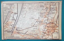 "1905 BAEDEKER MAP - Holland Haarlem & Zandvoort City  Plan  4"" x 6"" (10 x 15 cm)"