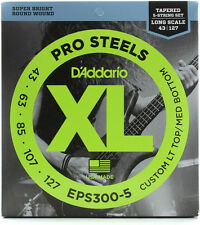 D'ADDARIO EPS300-5 PROSTEELS BASS STRINGS, LIGHT/MED GAUGE TAPERED 5's, 43-127