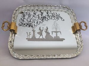Art Deco Etched Murano Glass Mirrored Tray By Ercole Barovier