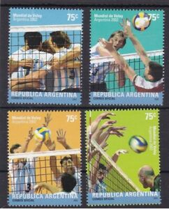 Argentina 2002 Volleyball Sports Unique Unusual Net effect on Stamps 4v MNH