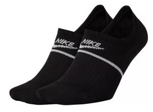 Nike Socks Mens XL Authenic New SNKR Sox Essential No Show Footies 2 Pairs Black