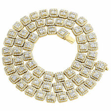 """8 Ct Diamond Chain 30"""" Christmas Spcl 14K Yellow Gold Over Square Baguette Round"""