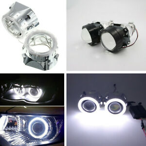 "2x 2.5""BI-xenon Projectors with shroud+Light Guide Angel Eye Headlight Kit H4/H7"