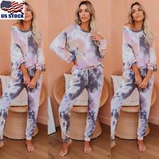 US Women Tie Dye Round Neck Tops Shirt Long Pants Set Lounge Wear Tracksuit Suit