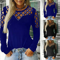 Women Crew Neck Hollow Studded Tops Long Sleeve T Shirts Casual Slim Tops Blouse