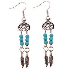Une paire de Boucle d'oreille pendante argenté turquoise et plume
