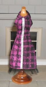 1/12TH SCALE DOLLS' BLACK AND PURPLE COTTON DRESS