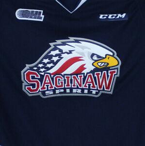 Saginaw Spirit OHL CHL Blue Home Hockey Jersey Youth Large XL CCM
