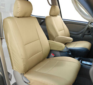 BEIGE S.LEATHER CUSTOM 2 FRONT SEAT & 2 ARMREST COVERS for TOYOTA TUNDRA 2000-03