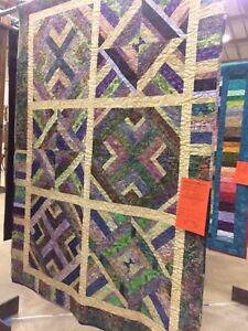 """Batik Pieced quilt, 52"""" x  72"""" Purple Batik Backing, Professional Quilted"""