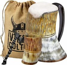 Viking Culture Ox Horn Mug, Shot Glass, and Axe Bottle Opener 3 Pc. Set The Jarl