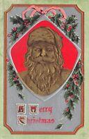 Christmas~Gold Airbrushed Santa Face Portrait~Silver Back~Hollly~Emboss~P Sander
