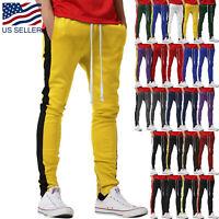 Mens Track Pants Striped Joggers Sweatpants Slim Fit Zipper TWO TONE Drawstring