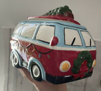 "HIPPIE VW VOLKSWAGEN BUS CAMPER CHRISTMAS TREE TREAT/COOKIE JAR CERAMIC 7""X5"""