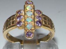 Luxury 9ct Yellow Gold Ladies Large Opal & Amethyst Aztec Style Ring