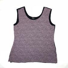 MISOOK Womens L Scoop Neck Sleeveless Knit Tank Top Side Slit Stretch Pink Black