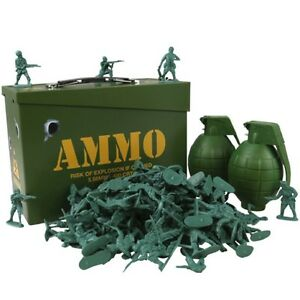 KIDS ARMY AMMO GIFT TIN FULLY LOADED 2 GRENADES TOY SOLDIERS BOYS SOLDIER PLAY