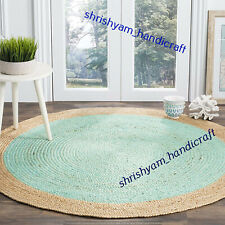 180x180 CM Round Braided Natural Hand Woven Handmade Floor Jute Carpet Area Rugs