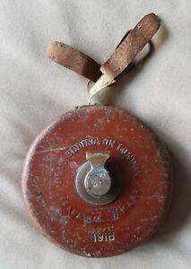 Antique 1918 Dean Bedington London Tape Measure 10m 30ft Leather Case