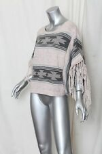 TOPSHOP *KNITTED NAVAHO TASSEL TOP* Knit South Western Fringe Sweater Poncho S