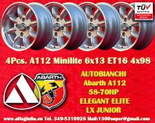 4 Cerchi Autobianchi A112 Abarth Minilite 6x13 4x98 Wheels Felgen Llantas Jantes
